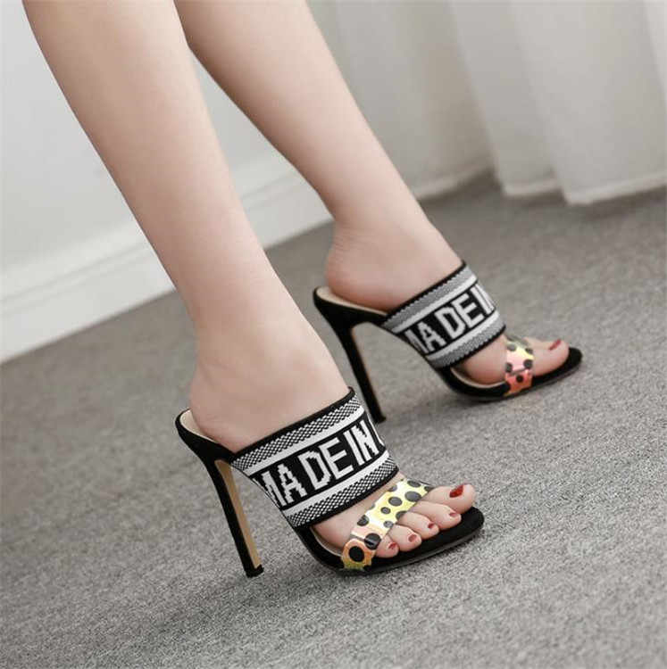 Round toe stiletto <strong>heel</strong> 12cm 10cm 8cm pvc multicolor sexy high <strong>heel</strong> fly knit strappy women mules