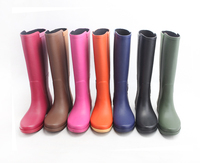2016 High Top Rubber Boots Ladies Mature Purple Rubber Rain Boots with zipper