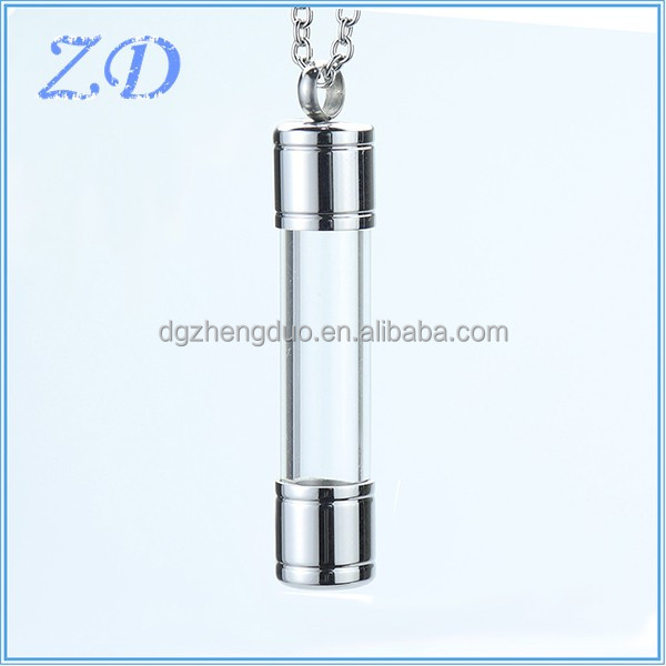 Stainless Steel Glass Container Cylinder Tube Urn Memorial Pendant Necklace small cremation vials Jewelry
