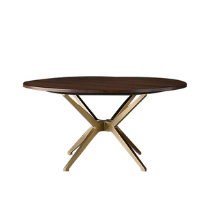 Round wooden top stainless steel legs dining table base