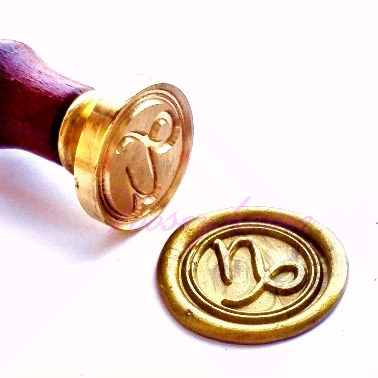 Vooseyhome The Horoscope Capricorn - Sign of Zodiac Wax Seal Stamp with Rosewood Handle - Ideal for Decorating Gift Packing, Envelopes, Parcels, Invitations, Scrapbook, etc