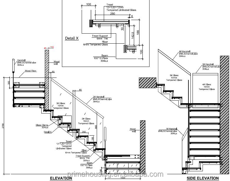 House Front Staircase Elevation : Small stainless steel staircase with wire rope rails buy
