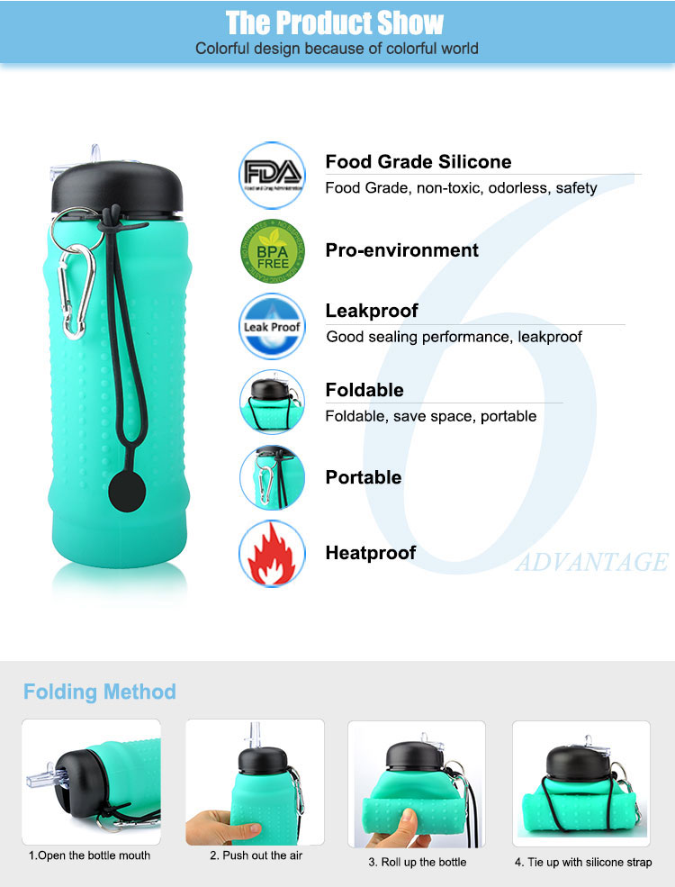 New Products 2018 Custom Silicone Outdoor Sports Innovative Fitness Water Bottle