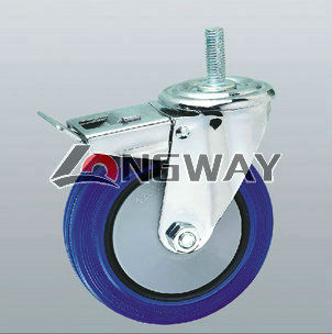 Elastic rubber caster with nylon core, ball bearing