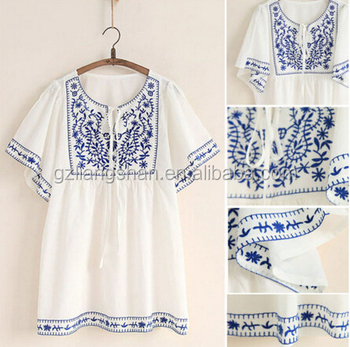 37989e9f54537 OEM Wholesale White Women Ethnic Embroidered Boho Hippie Peasant Mexican  Loose Cotton Blouse Tops