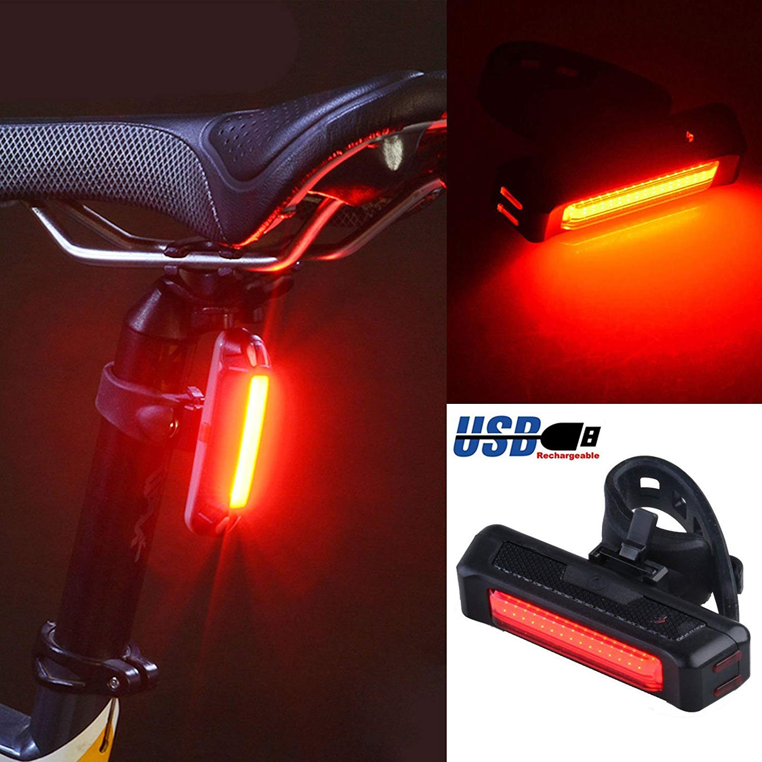 LinkStyle Rechargeable LED Bike Tail Light COB LED Bicycle Bike Light, 6 Modes & USB Charging Cycling Front Rear Tail Light - Red