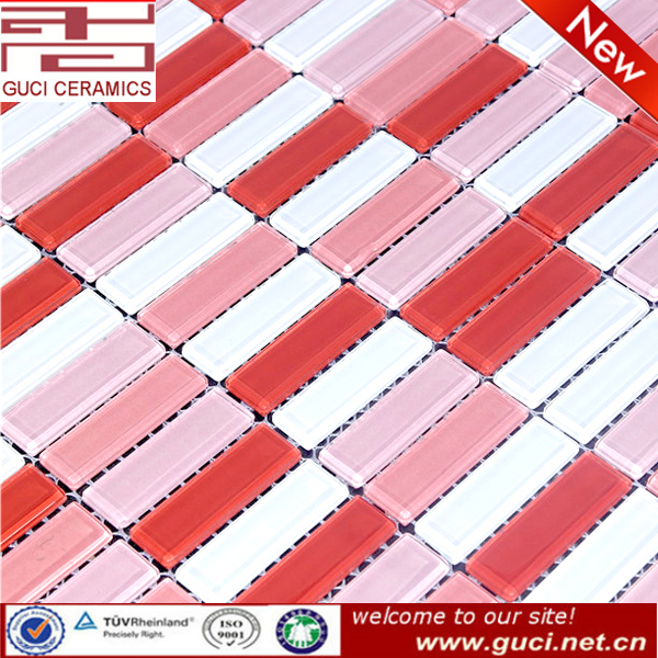 made in china pink Mixed crystal glass mosaic tile for bedroom design