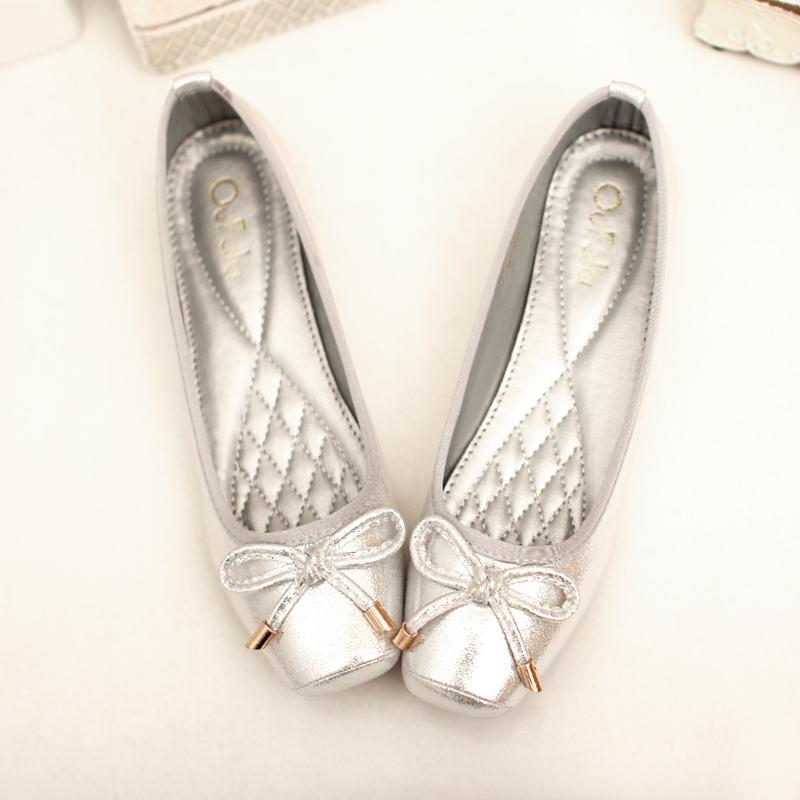 Get Quotations Size 41 Womens Shoes Flats Bow Soft Surface Square Head Las Flat Gold Silver