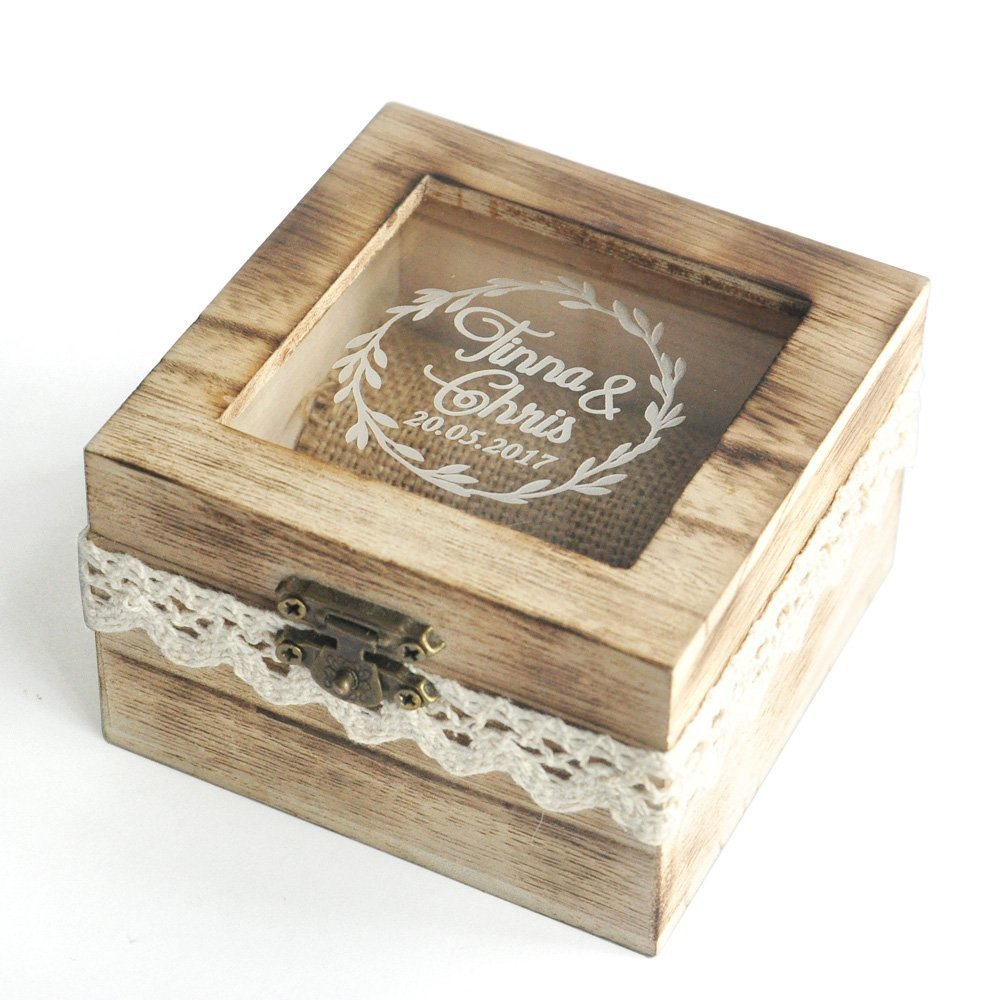 Personalized Engraved Wood Money Saving Box with Lock