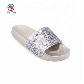 ebcca7ed45d Women New Design Shiny Sequins Upper Pvc Platform Slide Sandal - Buy  Platform Slide Sandal,Pvc Slides Sandals,Woman Sandals New Design Product  on ...