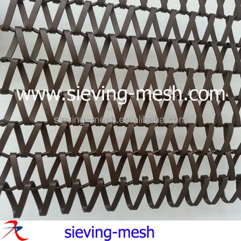 Stainless Steel Woven Wire Fabric / Metal False Ceiling Slab ...
