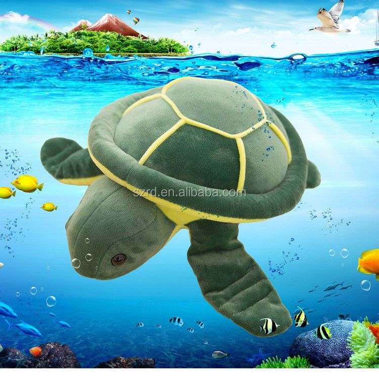 Factory customed very soft lifelike turtles plush toy green sea turtle funny toy big eyes sea turtle for kids
