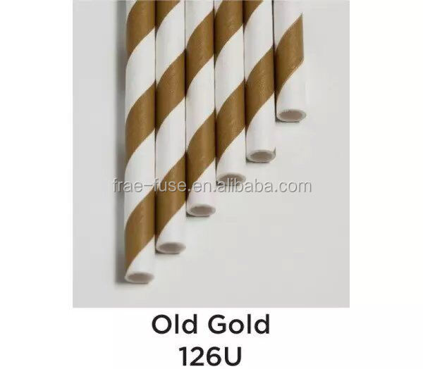 Old Gold Color Striped Straws