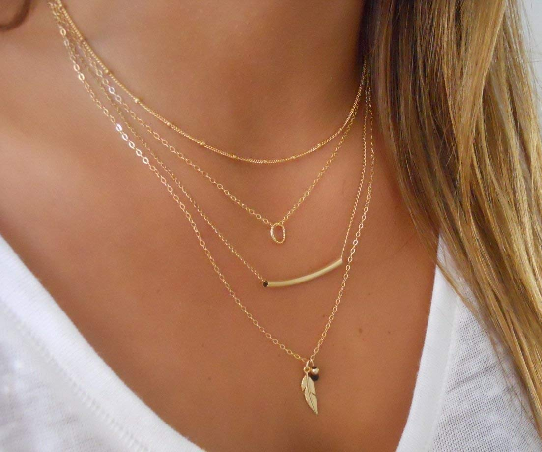 Handmade Designer Delicate Set Of 4 Gold Filled Layered Necklaces - Satellite, Tiny Ring, Tube And Feather Necklaces