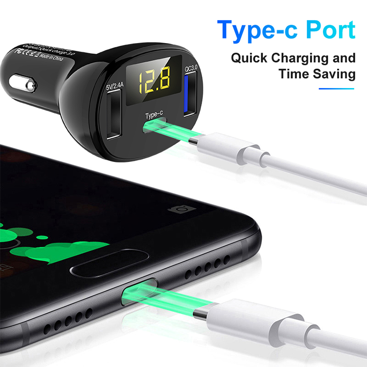 Factory price fast charging QC 3.0 type c dual USB car charger for phone