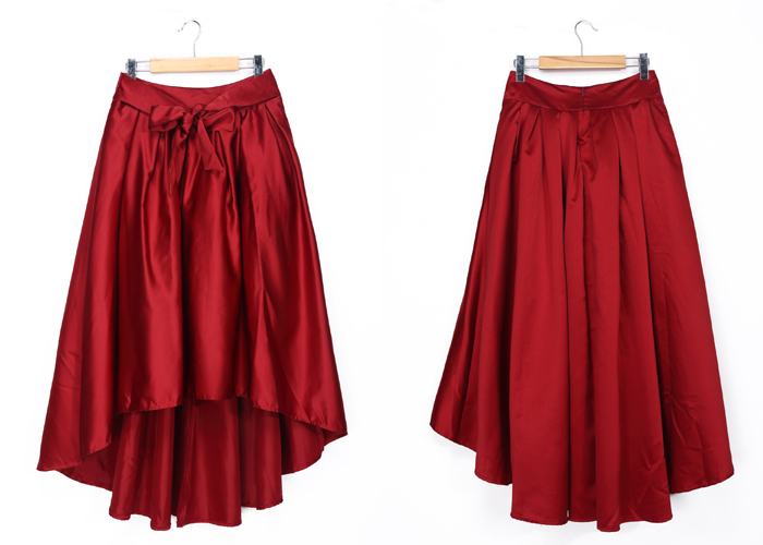Long Black Satin Evening Skirt Puffy Skirt Short In Front Long In ...