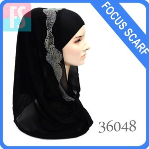black fancy crystal hijab with stone