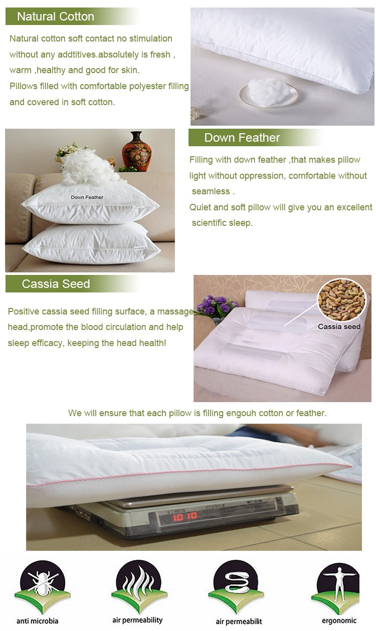 Home Textile Hotel Linen White Down Feather Pillow
