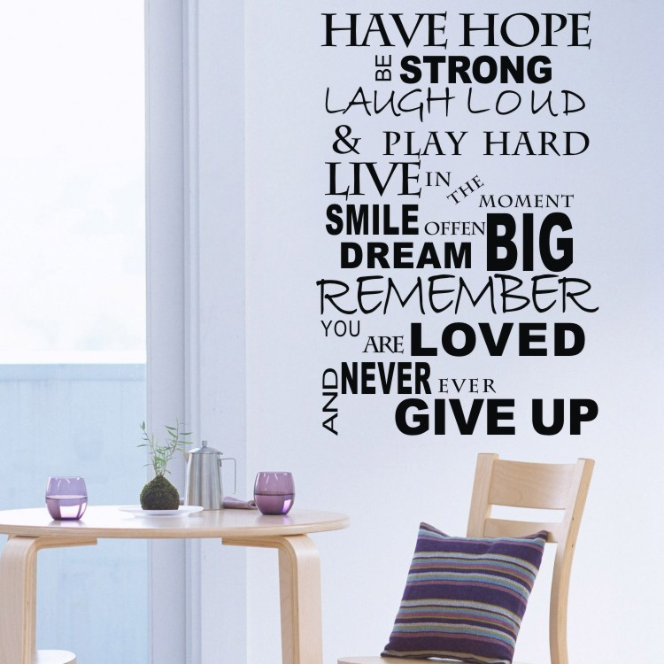 Motivational Inspirational Quotes: HAVE HOPE BE STRONG Wall Inspirational Quotes Decals Vinyl