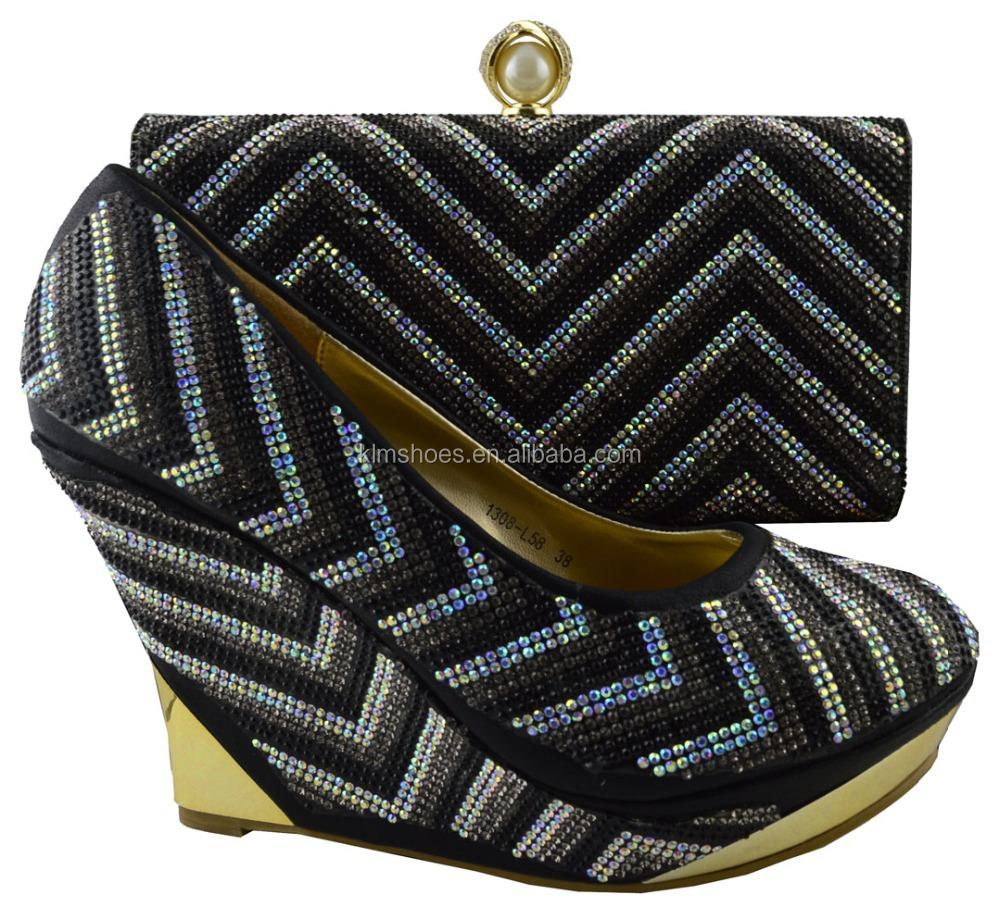 Bags Matching Design Evening Shoes With 1308 Italian 2016 Shoe Decoration Fashion Set Bags Women L58 And Rhinestone Black YURqYxXg7