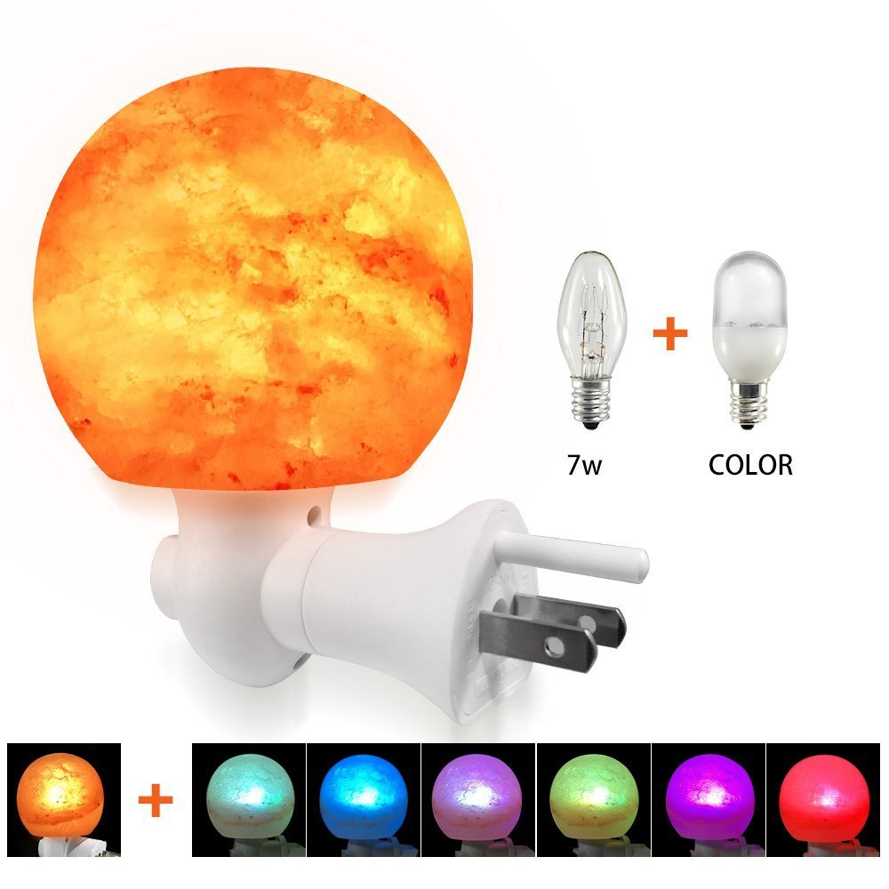 Salt Lamp Wall Light, YUUVE Natural Crystal Himalayan Salt Lamp Nursery Wall Night Light with Incandescent Bulb and Multi Color Changing Bulb