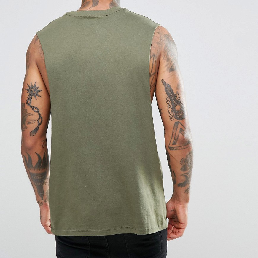 Sleeveless Men's T shirts Dropped Armhole Cotton Tank Tops Plain Custom Gym Vests