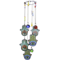 H&D Wind Chimes, 50CM Palm Garden Chimes With Crystal Beads, Portable Metal Wind Chimes for Home Garden Decoration