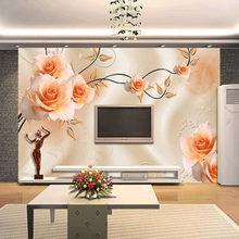 Современные Простые 3D обои с розами из виноградной лозы, гостиной, ТВ, диван, спальня, фоновые покрытия для стен, домашний декор, Настенные об...(Китай)