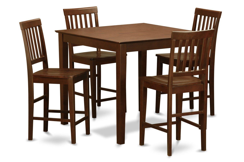 East West Furniture VERN5-MAH-W 5-Piece Pub Table Set