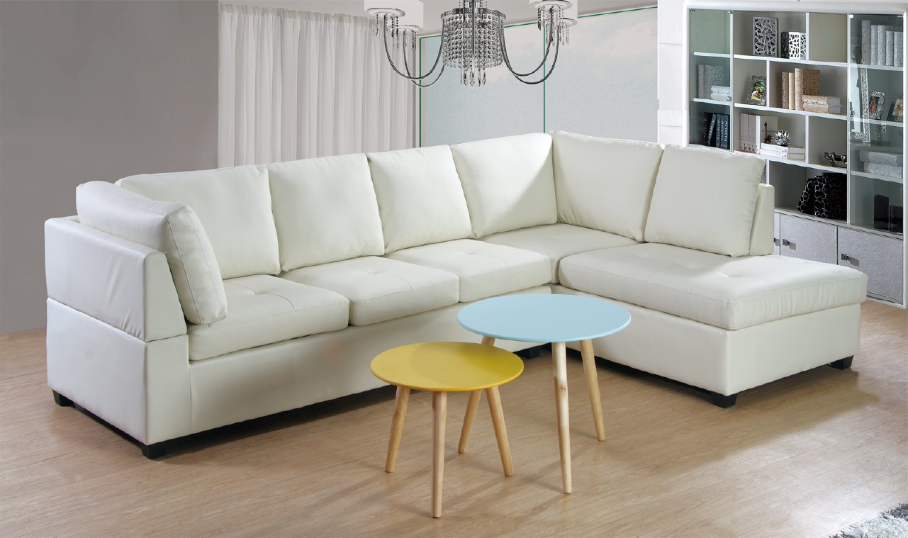Large White L Shaped Leather Sectional