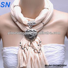 Metal Heart Pendant Necklace Scarf Fashion long Tassel
