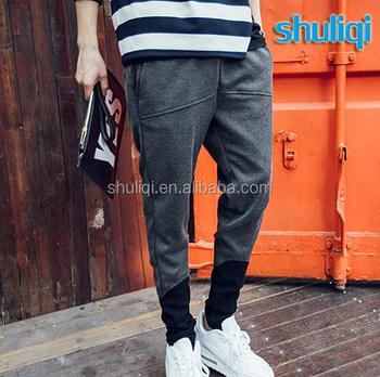 ef387fc53261 Stylish track pants elastic tapered leg bottom mens gym 100% cotton narrow  fit jogging pants