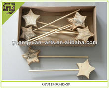 natural wooden decors star birch Christmas ornaments