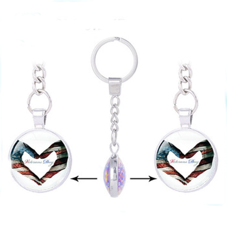 USA Flag Keychain for Keys National Symbolic Souvenir Couple Heart Shaped Keychain