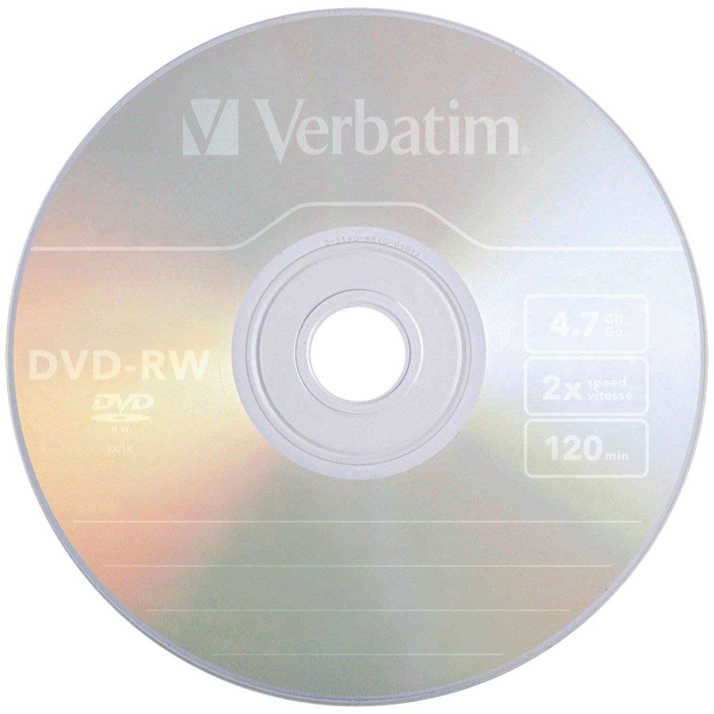 Verbatim 4.7 GB 2x ReWritable Disc DVD-RW, 10-Disc Jewel Case 94918