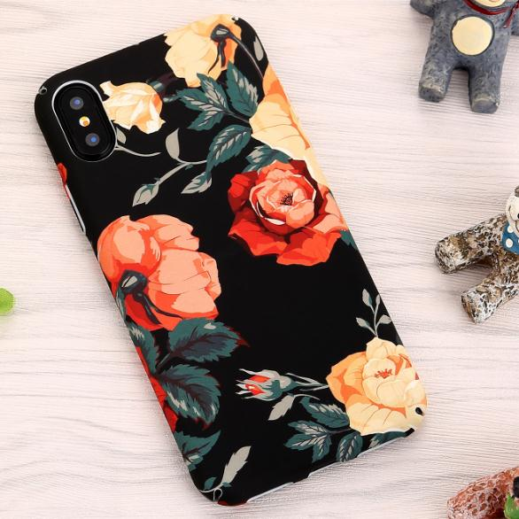 Retro Rose Flower Floral Water Sticker Paint Hard Pc Waterproof Phone <strong>Cases</strong> for iphone 6 7 8 plus x xs max xr