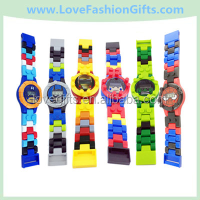 Kids Educational Toys Building Block Plastic Electronic Watch Transformation Toys