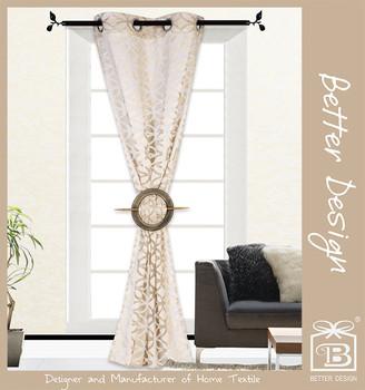 1 pc 100 polyester beige couleur deux tons jacquard oeillet d coratif rideaux rideau d coration. Black Bedroom Furniture Sets. Home Design Ideas