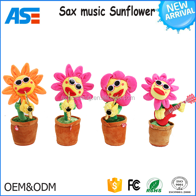 2018 Creative Light up LED Singing and Dancing Guitar Sunflower Baby <strong>Plush</strong>