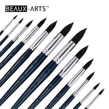 Round Synthetic Blue Squirrel Hair Artist Watercolor Paint Brush Pen Set for Professional