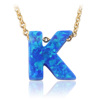 Initial Opal Stone/Opal Letter K Pendant Necklace/Letter K Blue Fire Opal Necklace