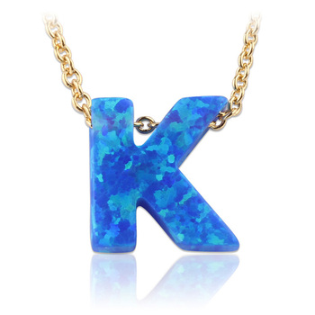 Initial Opal Stone Opal Letter K Pendant Necklace Letter K Blue Fire