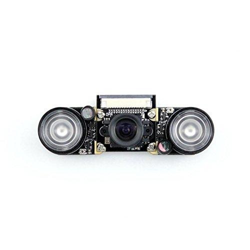 Waveshare Raspberry Pi Camera (F) Night Vision Camera Adjustable-Focus Module 5MP OV5647 Webcam Video 1080p for Raspberry-pi 3 Model B/ 2 B/B+