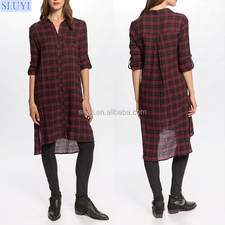 vintage western england style women red plaid dress long sleeve high low slit side button up ladies classic plaid casual dresses
