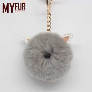Cute Women Real Rabbit Fur Pompoms with Two Small Ears Animal Cat Bag Charm Keychain