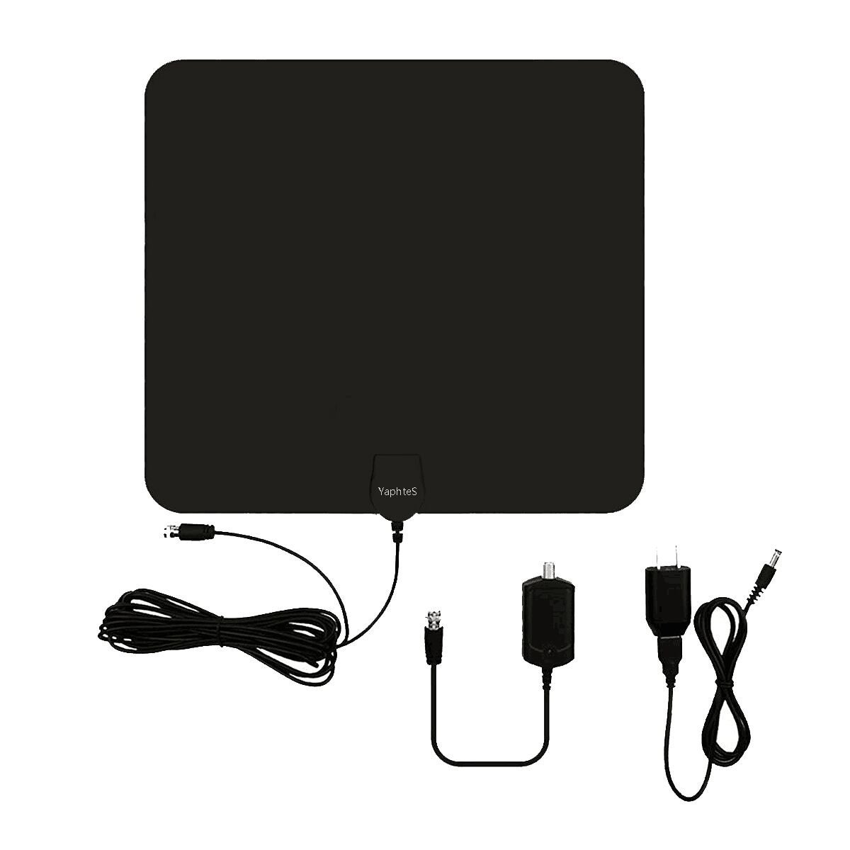 TV antenna,YaphteS Amplified Indoor Digital HDTV Antenna 50 Mile Range with Power Supply and 13 ft Coax Cable