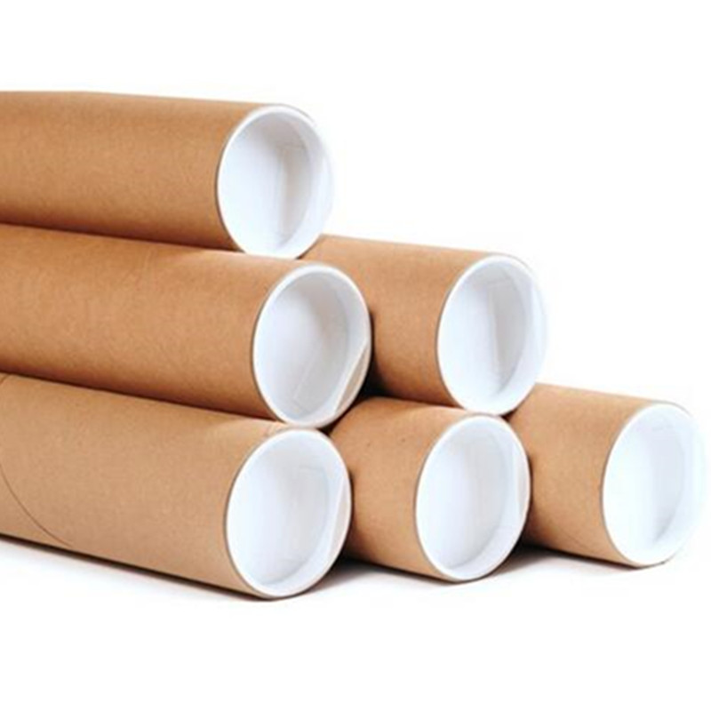 cardboard shipping tube/mailing/poster packaging tube round box brown paper kraft tube metal lid/plastic lid