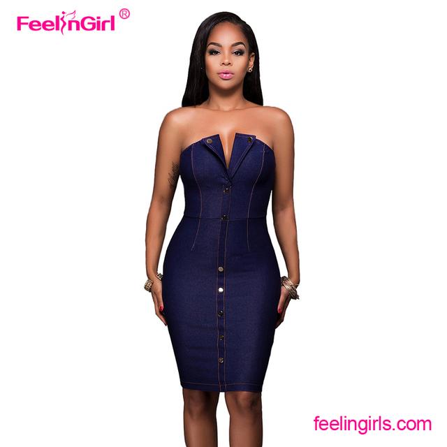 64ef029db Venta al por mayor azul botón cierre de cremallera Mujer vestido de una  sola pieza