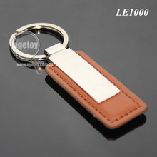 New Arrival Fashion Men Brown Leather Rectangle Zinc Alloy Silver Metal Blank Leather Keyring