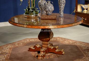 elegan cat kayu bulat dinning meja dengan emas  a7e6dfd0bd